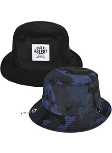 BIG CAMO BLUE BUCKET HAT(REVERSIBLE)
